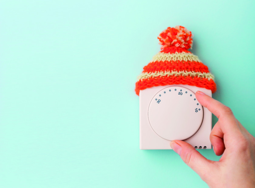 thermostat with woolly hat