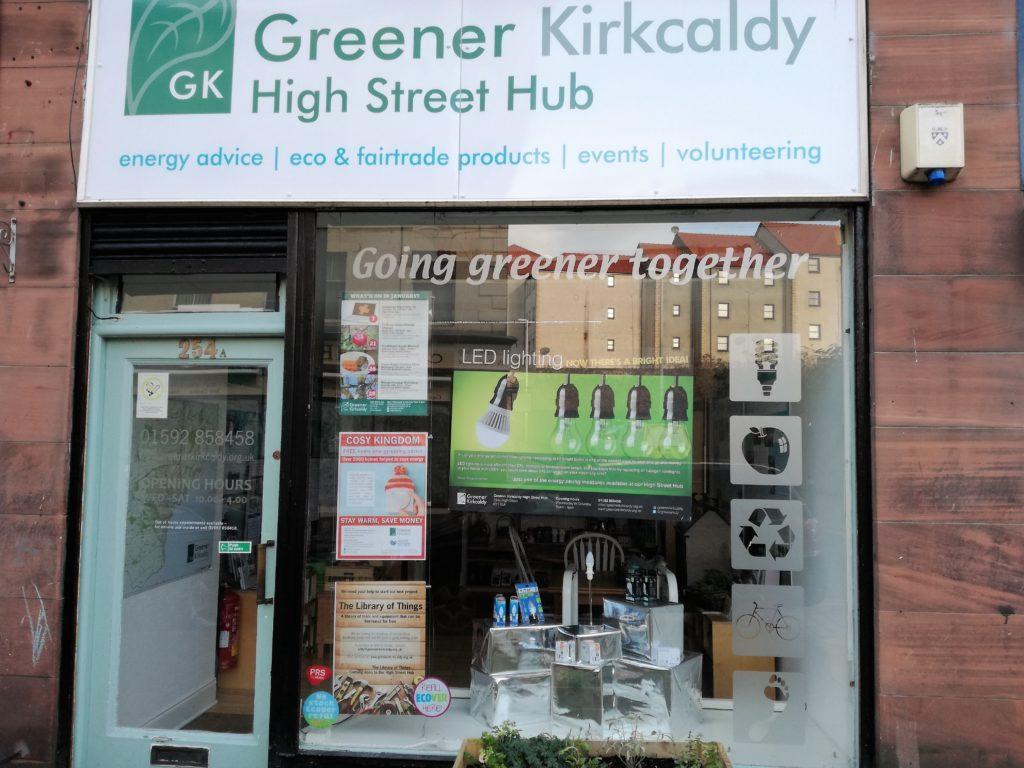 Greener Kirkcaldy high street hub shop front