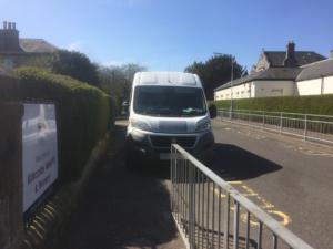 parked van - working towards a low car kirkcaldy